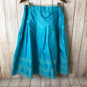 Blue  A-Line  Pleated Skirt Size: XL